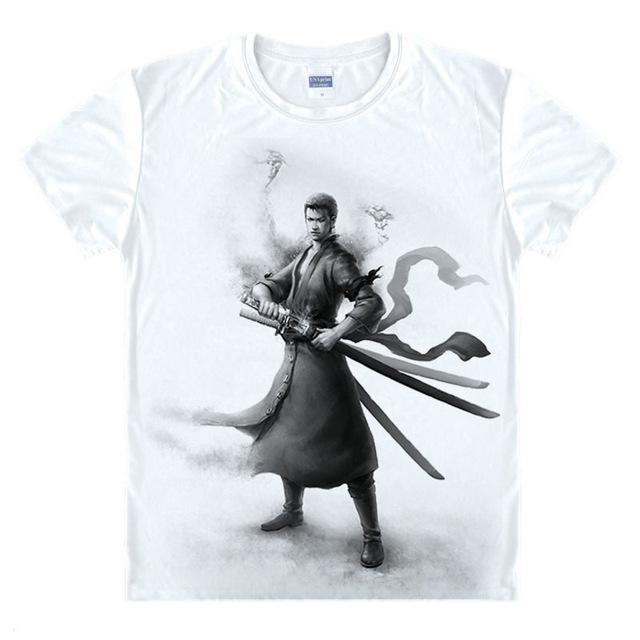 T-Shirt One Piece Zoro Noir et Blanc