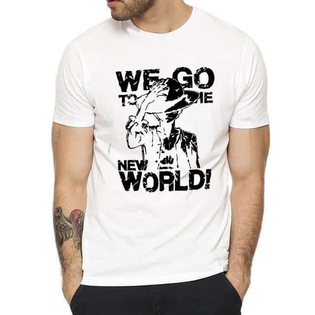 T-Shirt One Piece Monkey D. Luffy Noir et Blanc