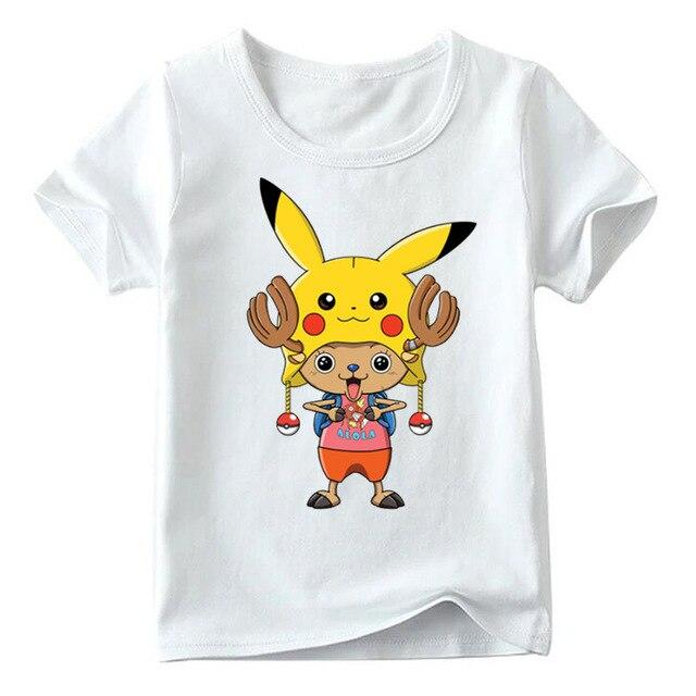 T-Shirt One Piece Enfant Tony Chopper et Pikachu