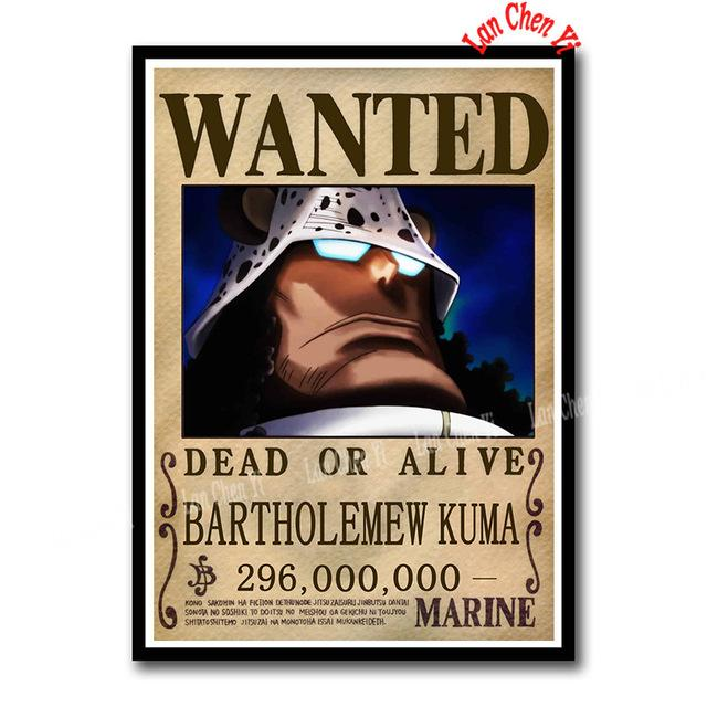 Sticker One Piece Bartholomew Kuma Wanted